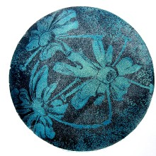Cow Parsley 2/Blues : Collagraph : Cheryl Brooks