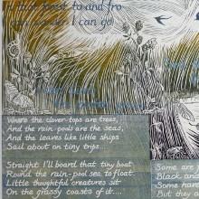 The Little Land (Robert Louis Stevenson) : Linocut + Solar Etching : Ruth Oaks
