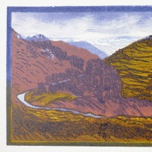 The Traveller : Linocut : Ruth Oaks